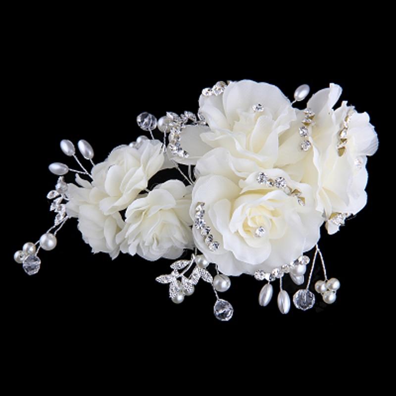 Clipe de flor azul bege rosa com strass requintado para casamento e - Bijuterias - Foto 2