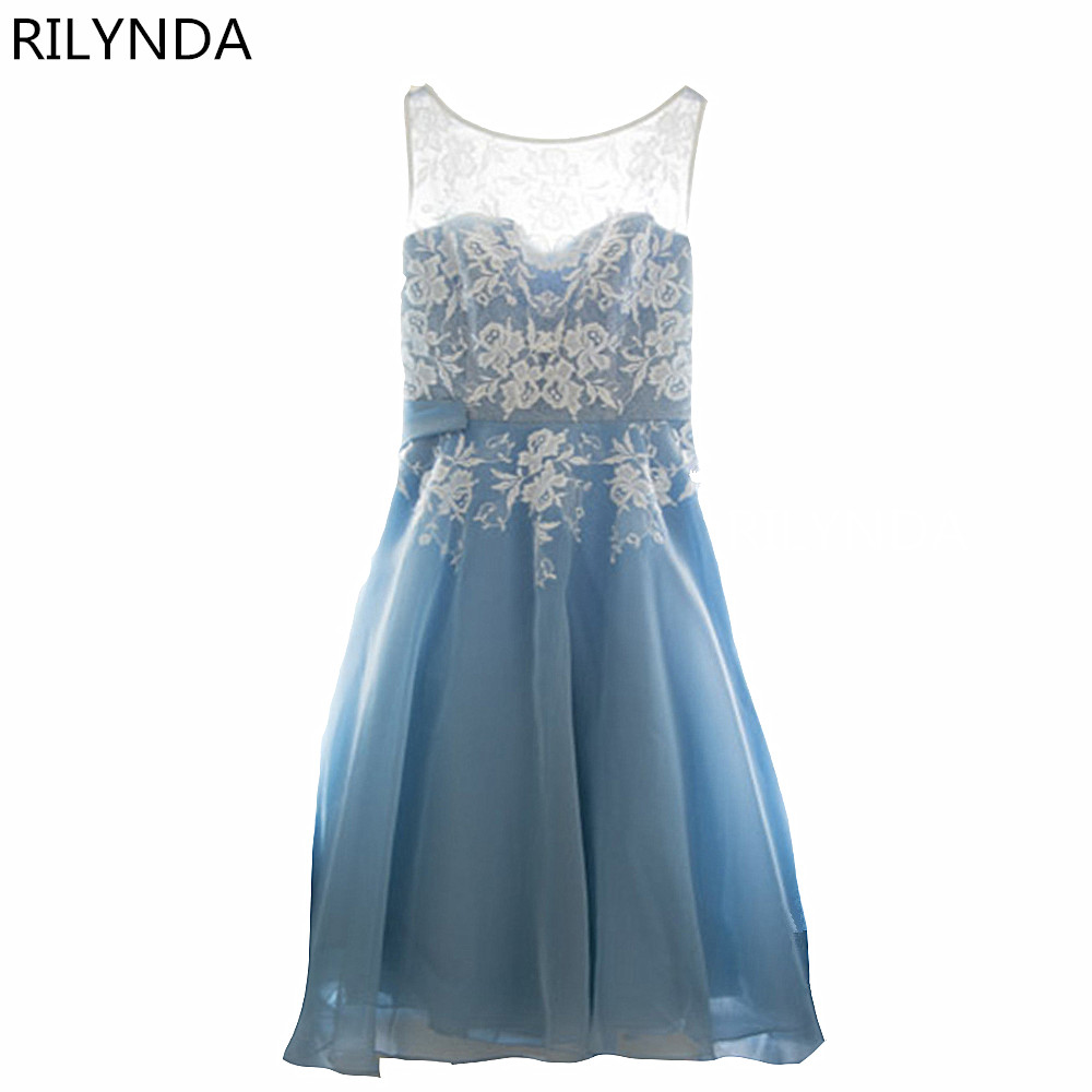 Sky blue Lace Short   Bridesmaid     Dresses   The Bride Beading Sleeveless Banquet Party Gown Custom Plus Size Formal   Dress