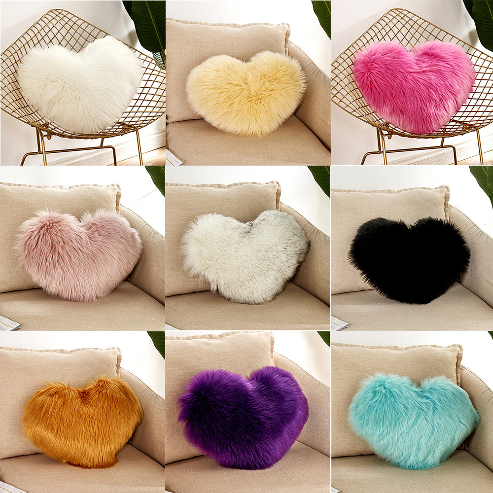 Heart Shaped Beautiful Sofa Waist Throw Cushion Case For Home Decor Sofa Cushions Girls Velvet Throw Gift Decorativos 21