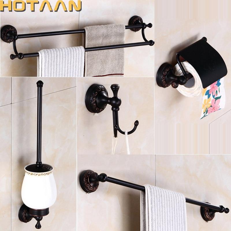 free shippingoil rubbed bronze bathroom accessories setrobe hookpaper holder