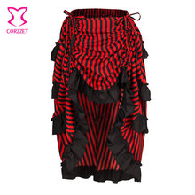 6cecb722396 Rouge et noir rayé taille basse réglable longueur asymétrique à volants  Vintage victorien jupes longues femmes gothique Steampun.