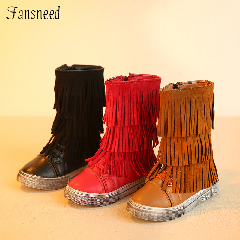 Autumn and winter 2017 child martin female boots child high-leg medium-leg vintage tassel boots casual boots children