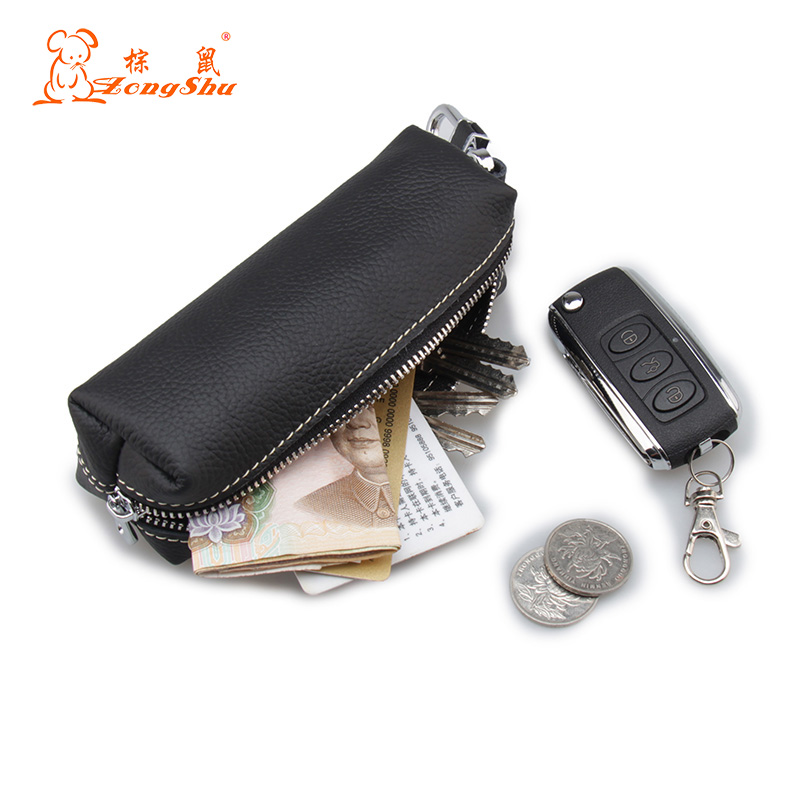 Long Design Women Men's Cowhide Leather Zipper Purse Bag Car Key Wallets Fashion Multifunctional Housekeeper Holders