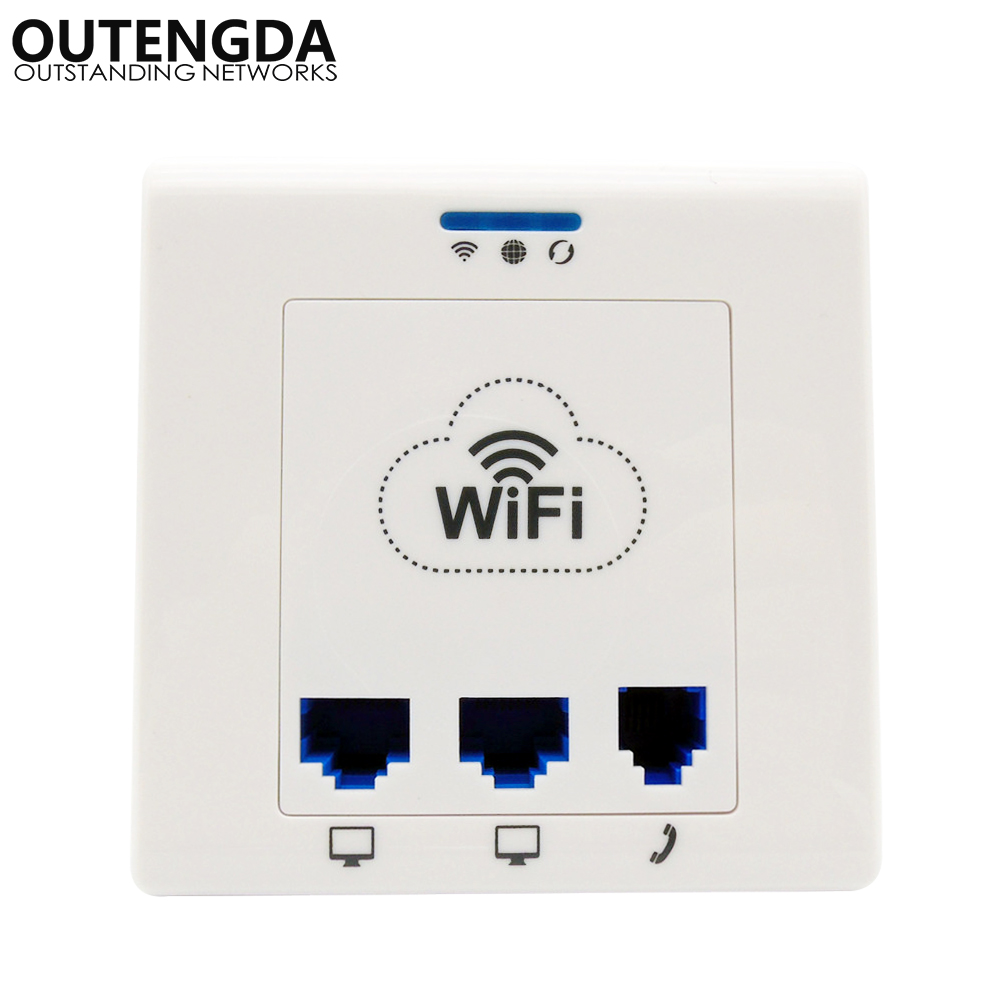 OUTENGDA In-wall Socket Wireless WiFi AP Router 802.11bgn 2 Ethernet Ports 1 RJ11 Port Wireless Access Point for IPTV, IP Phone outengda белый