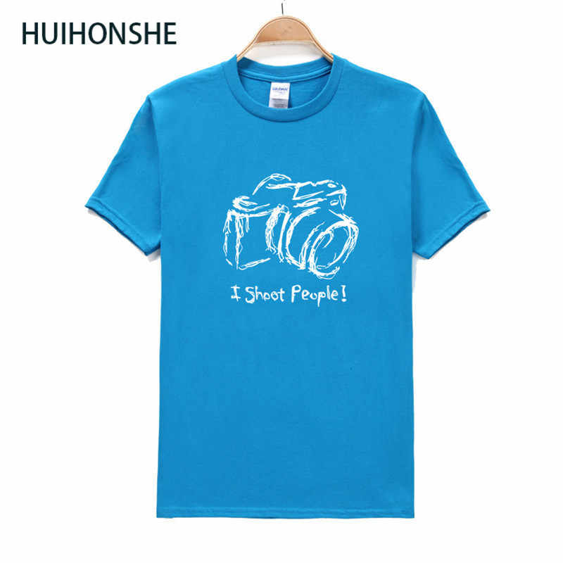 Huihonshe Aku Menembak Orang T-shirt Katun Pria O Leher Lengan Pendek T Shirt Kamera Fotografi Foto Dicetak T Shirt Ukuran XS-2XL