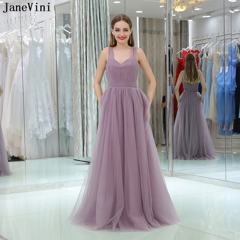 JaneVini 2018 Simple Cheap Long Plus Size   Bridesmaid     Dresses   A Line Pleats Sweetheart Backless Tulle Floor Length Prom Gowns