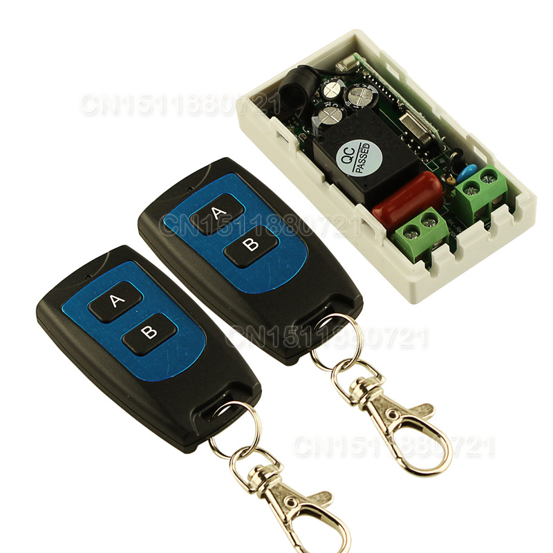 AC 220 V 1CH Wireless Remote Control Switch System Receiver & 2 Keys waterproof Remote 315mhz/433mhz wireless pager system 433 92mhz wireless restaurant table buzzer with monitor and watch receiver 3 display 42 call button