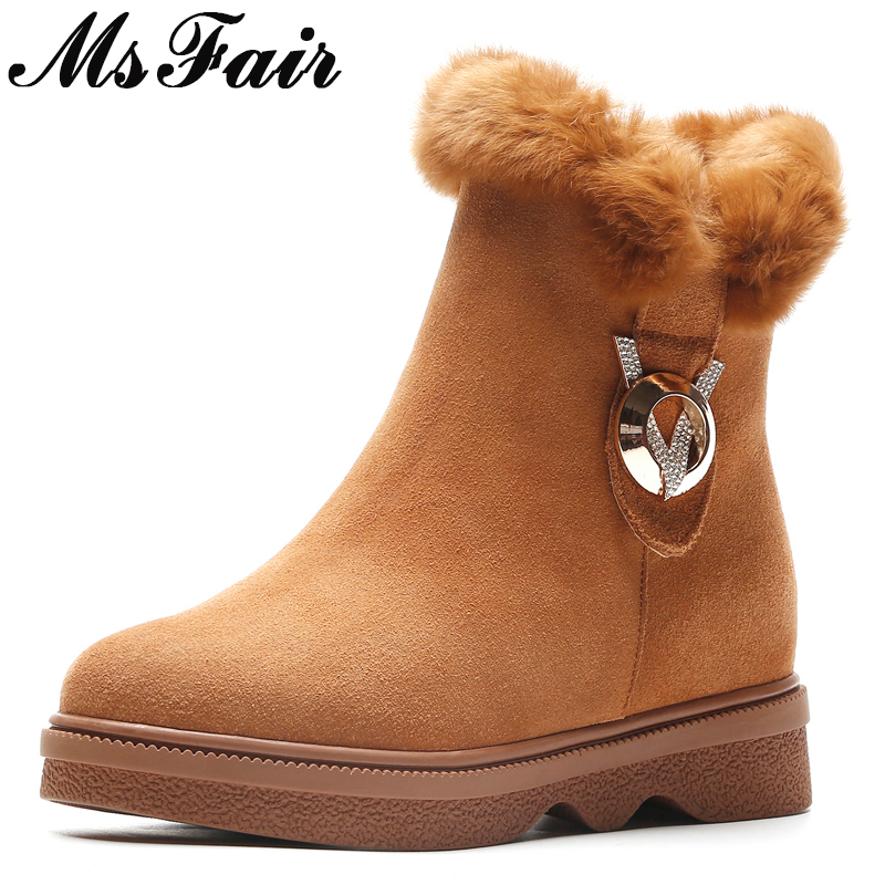 MSFAIR Women Snow Boots Round Toe Flat Heel Zipper Ankle Boots Women Boots Winter Wool Keep Warm Cotton Snow Boot Shoes For Girl round toe flat heel zipper ankle boots