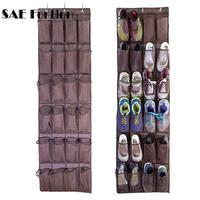 24 جيوب منظم حقيبة معلقة على الباب حامل أحذية محبوكة النسيج شبكة منظم تخزين جدار خزانة حقيبة ZH988