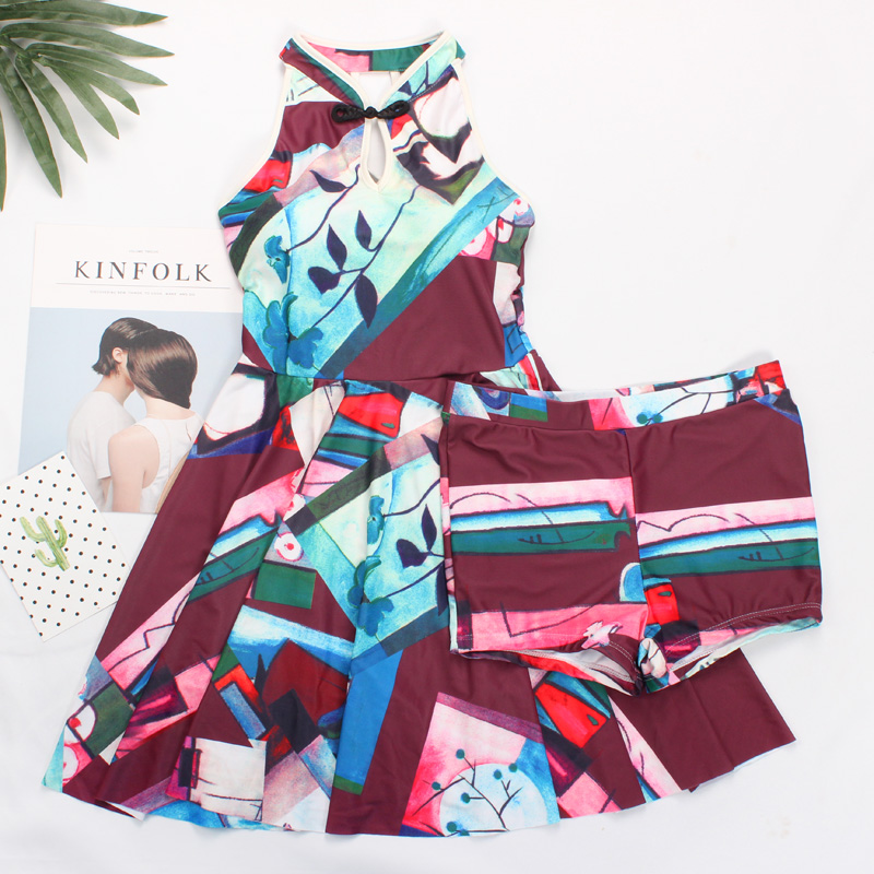 Summer 2017 Sexy Halter swimwear hot new geometric print skirt style Flat pants one Piece swimsuit beach women bathing suits trendy solid color halter pleated one piece skirt swimwear for women