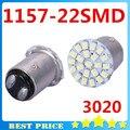 10X1157 P21/4 W P21/5 W BAY15D 3020 22 SMD LED Car Brake Ligue Luz Automobile auto Wedge Lâmpada xenon Carro branco Styling