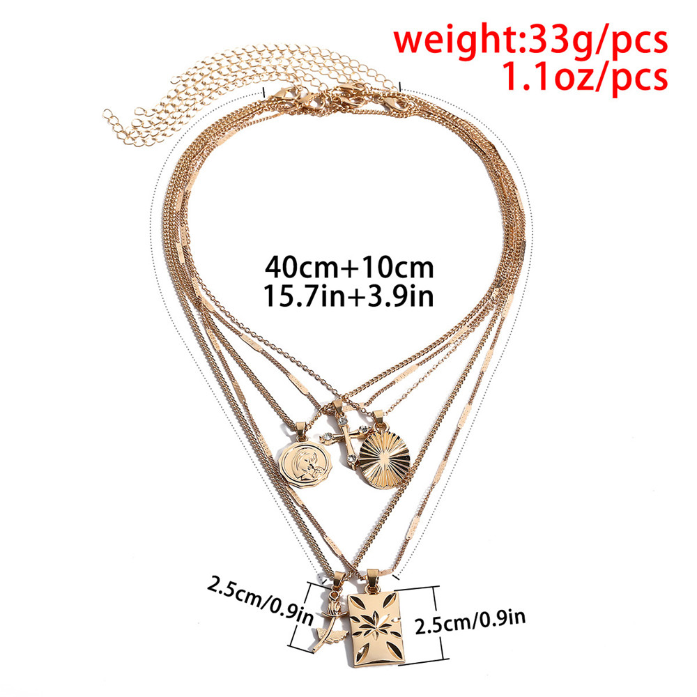 5Pcs Set Vintage Multi Layered Choker Necklace For Women Cross Rose Flower Pendant Necklace Statement Jewelry Gift in Chain Necklaces from Jewelry Accessories