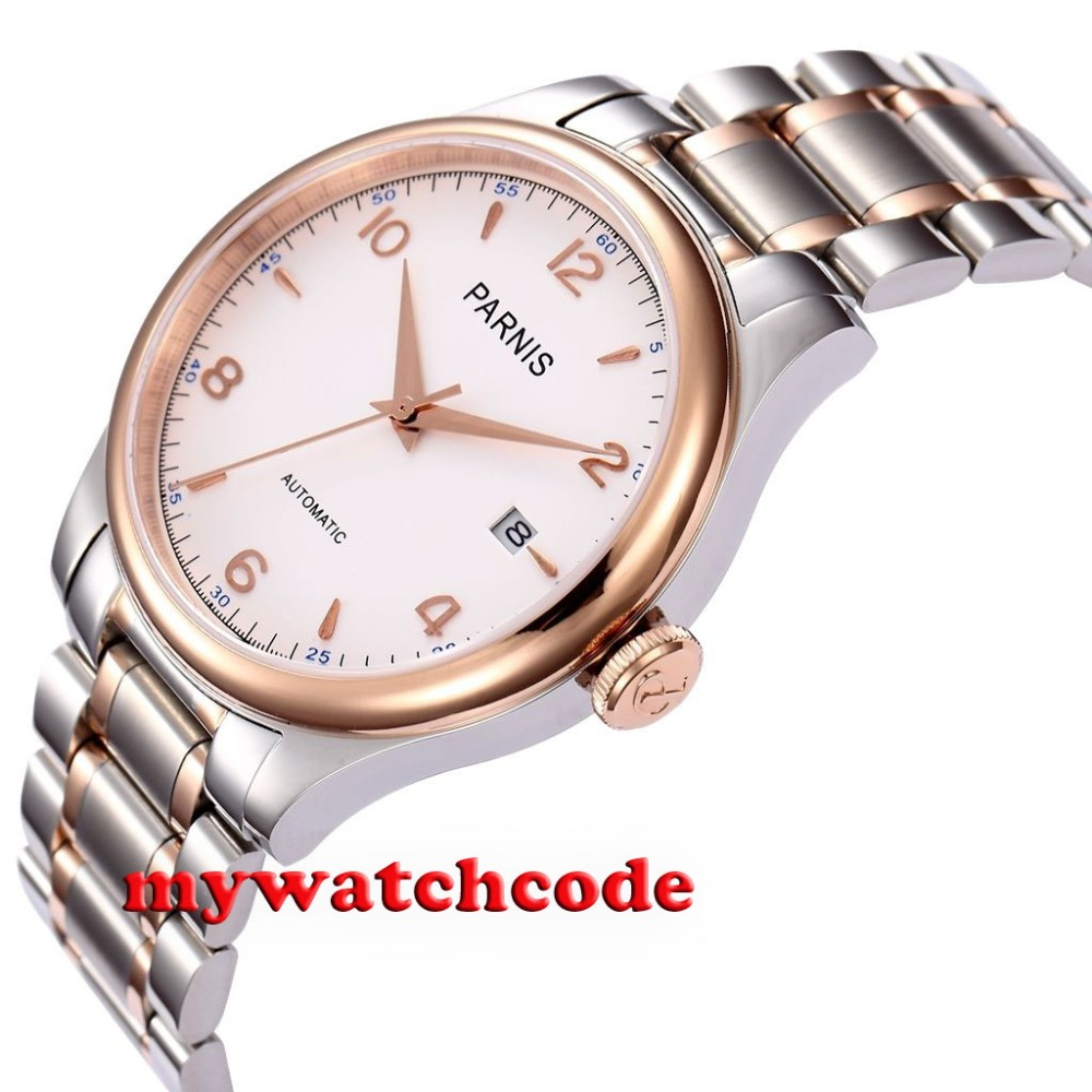 38mm Parnis white dial rose bezel Sapphire Glass miyota Automatic mens Watch 784 38mm parnis white dial date sapphire glass miyota automatic mens watch p723
