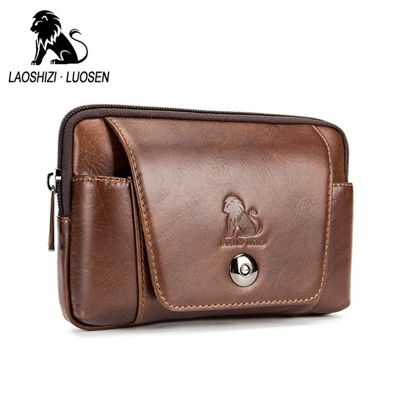 LAOSHIZI LUOSEN Genuine Leather Cowhide Men Waist Packs Vintage Fashion Belt Mobile Phone Bag Male Hip Bum Small Pocket Purse