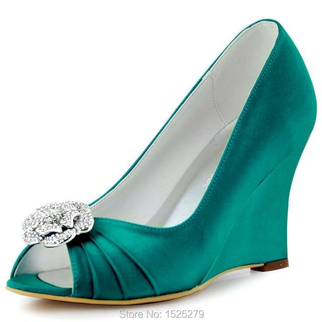 522b9f24df7d WP1547 Teal Lady Bride Bridesmaids Girls Peep Toe Wedges Heels Pumps  Rhinestones Clips Detachable Evening Party Women Shoes