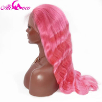 Али Коко перуанский объемная волна 13*4 кружева фронтальной парики с ребенком волосы красный/желтый/синий/розовый/Puple натуральные волосы 130%/