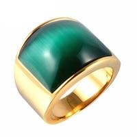 Elegancki Owalny Biały/Czarny/Zielony Opal Kamień Pierścień Dla Kobiet Mężczyzn W Tytanu Biżuteria Ze Stali Nierdzewnej Darmowa Wysyłka (GR188)
