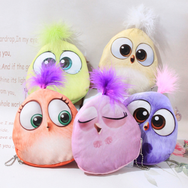 2017 New Design Cartoon Birds Coin Storage Purses Women Fashion Money Pouch Children Plush Wallets Mini Purse Bag
