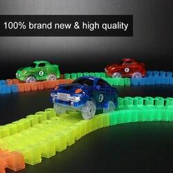 Diy acessórios universais milagrosa brilhante pista de corrida curva flex flash no escuro conjunto carro corridas faixas brinquedos para crianças