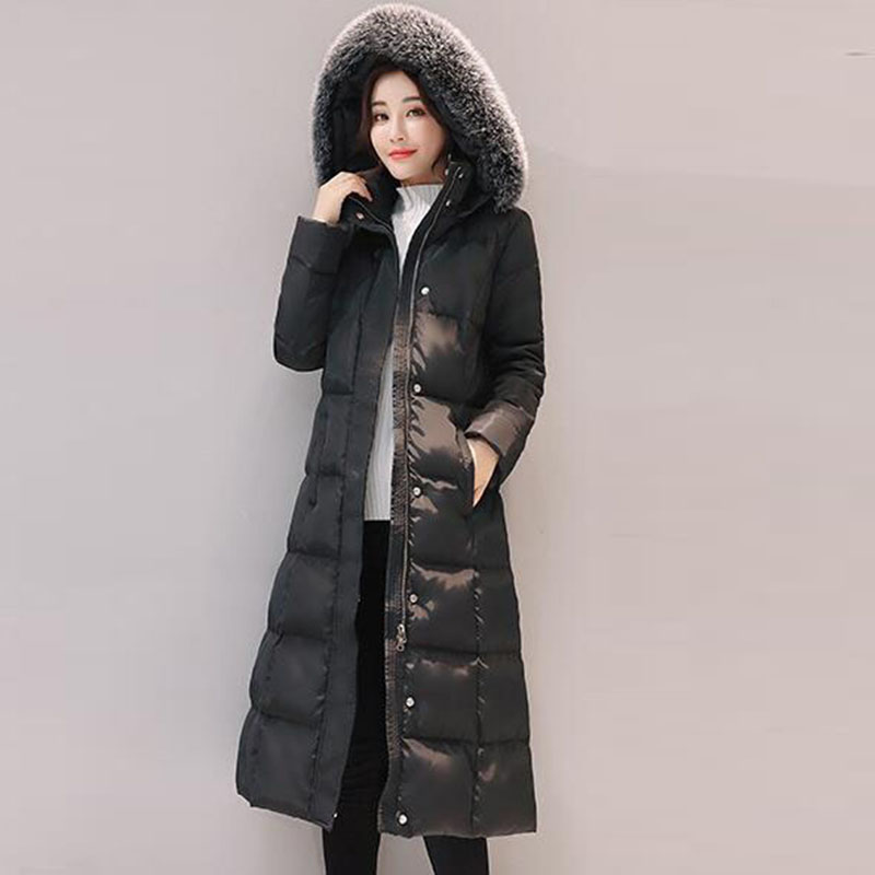 Down   jacket 2017 winter women white duck   down     coat   long hooded fur collar warm parka female thicker plus size outerwear QH0985