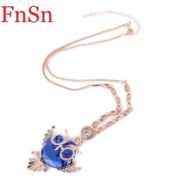รักนกฮูกจี้สร้อยคอผู้หญิงคริสตัลสร้อยคอสังกะสีโลหะผสม Rose Gold Chain Link สี Choker สร้อยคอสัตว์ JewelryHot