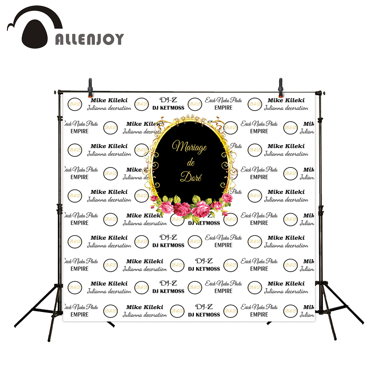 Allenjoy vinyl backdrop White circle black gold frame wedding custom sweet celebration photography camera backdrop exclude stand