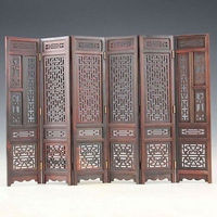 Hand carved Chinese Boxwood & Sculpture Folding Screen