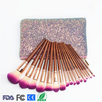 Professional 17pcs Set Natural Wood Handle Makeup Brushes Kit With Case Cosmetic Tool Collection