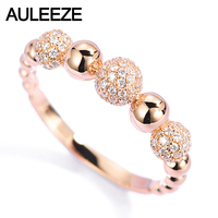 AULEEZE 18K Rose Gold Anniversary Bands Real Natural Diamond Ring For Women Female Genuine Fine Jewelry Gifts