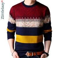 2019 брендовый Повседневный осенне-зимний теплый пуловер, вязаный полосатый мужской свитер, мужские толстые мужские свитера, трикотажная оде...