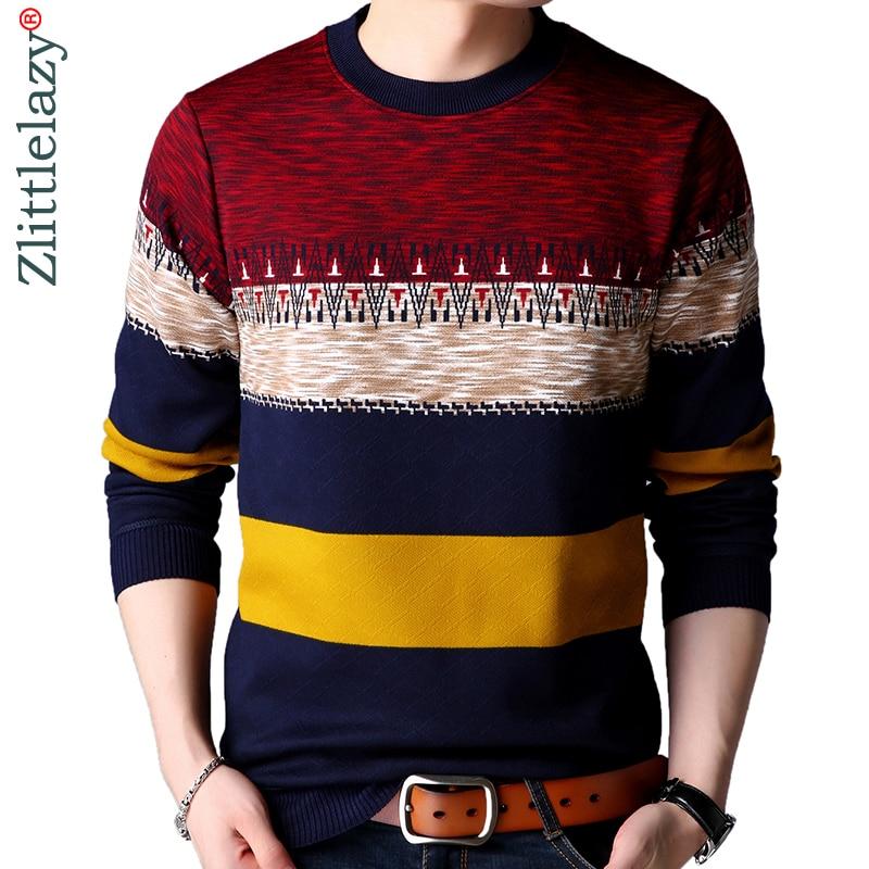 e5c2eec59 2019 marca casual outono inverno morno do pulôver de malha listrado camisola  homens masculinos vestido grosso mens blusas camisa roupas 41200