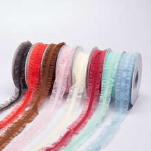 16mm 10yards/roll Wrinkle Edge Ruffle Elastic Ribbon For DIY Hair Accessories Garment