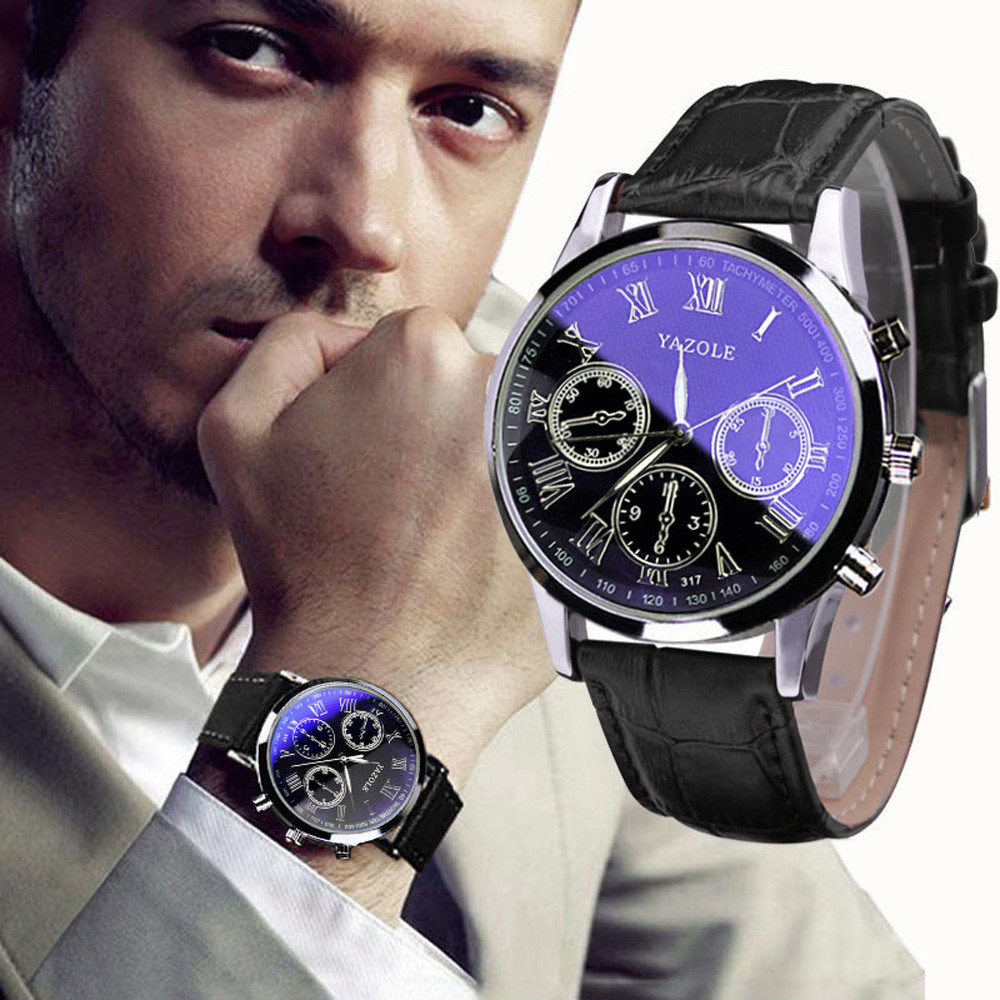 цена на Hot Sale Luxury Fashion Leather Mens Blue Ray Glass Quartz Analog Watches Sport Wrist Watch Birthdays Watch kol saati F80