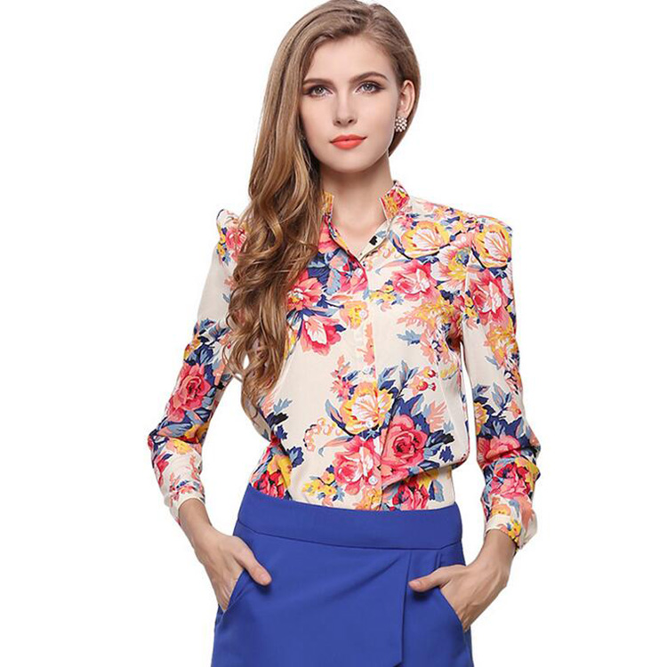 Women Blouses Button flower Autumn New Long sleeve Shirt Female Floral Chiffon Women s Slim Clothing