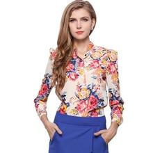 Women Blouses Button flower Autumn New Long-sleeve Shirt Female Floral Chiffon Women's Slim Clothing
