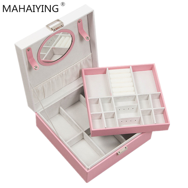 2019 New Square Double decker Mirror Receiving Box Color Matching Bow Dressing Jewelry Box Home Storage