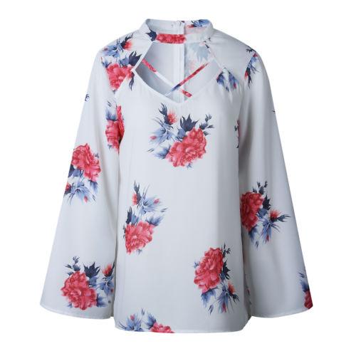 Fashion Women s Summer V-Neck Bandage Long Sleeve Chiffon Blouse Shirts  Floral Casual Loose Shirt Outfits Tops Clothing 0161a62c6