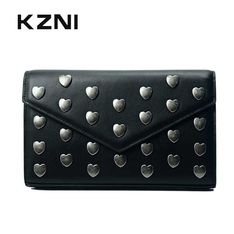 KZNI Genuine Leather Cowhide Clutch Women Bag with Chain Shoulder Bag Women Purses and Handbags Day Clutches Bolsa Feminina 1397 kzni genuine leather bag female women messenger bags women handbags tassel crossbody day clutches bolsa feminina sac femme 1416