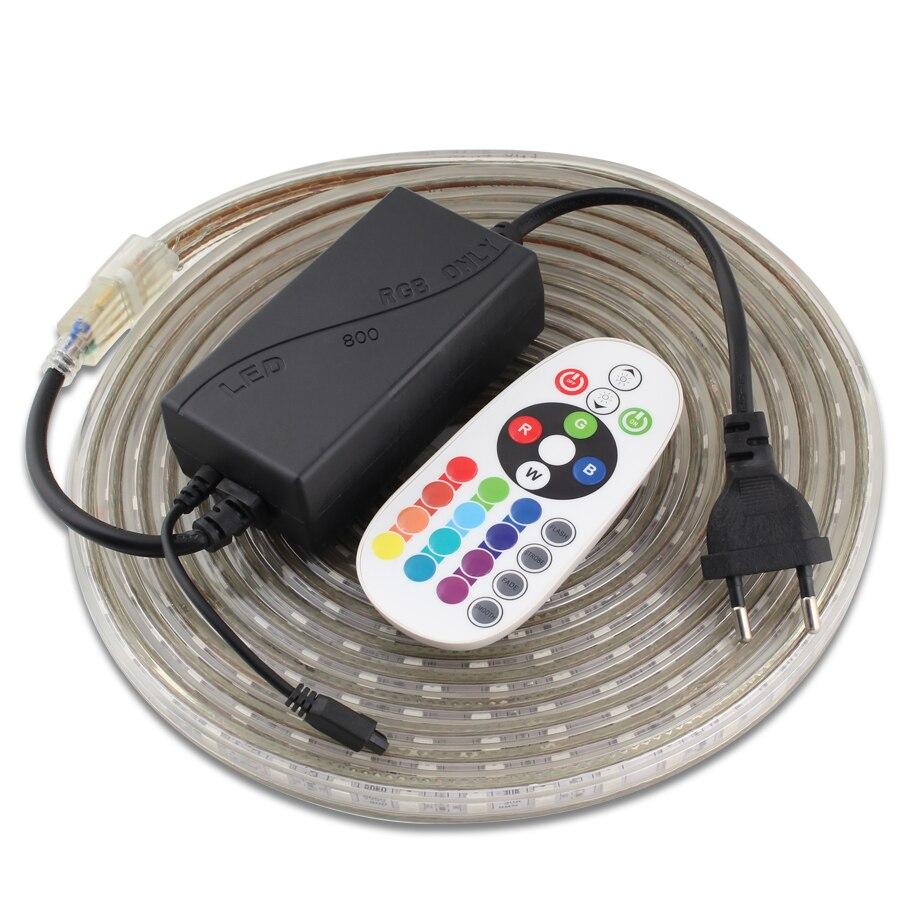 RGB 220V LED Strip Light Waterproof Remote Control Neon 220V LED RGB Light Strip Tape 60led/m Flexible SMD 5050 Ribbon LedStrip