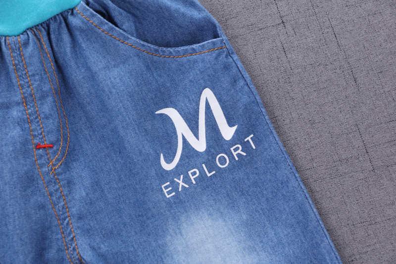 Летний комплект одежды для маленьких мальчиков с мультяшным автомобилем, детская одежда, рубашка с короткими рукавами + джинсы для мальчиков, костюм для детей