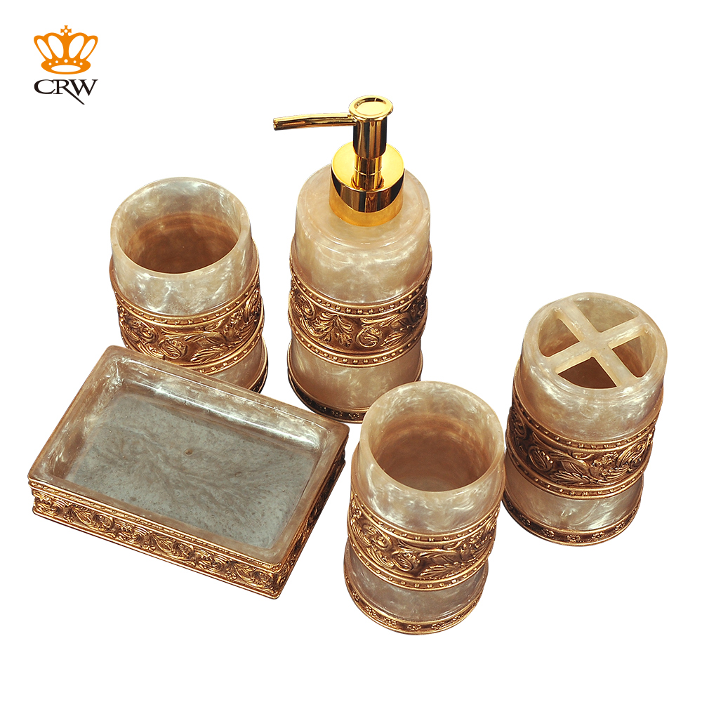 Luxurious royal style 5pcs bathroom accessories set toothbrush tumbler soap dish soap dispenser - Bathroom soap dish sets ...