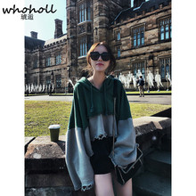 WHOHOLL 2017 autumn shirts women's flare sleeved loose hooded hoodies for female sweater coat stitching oversize patchwork
