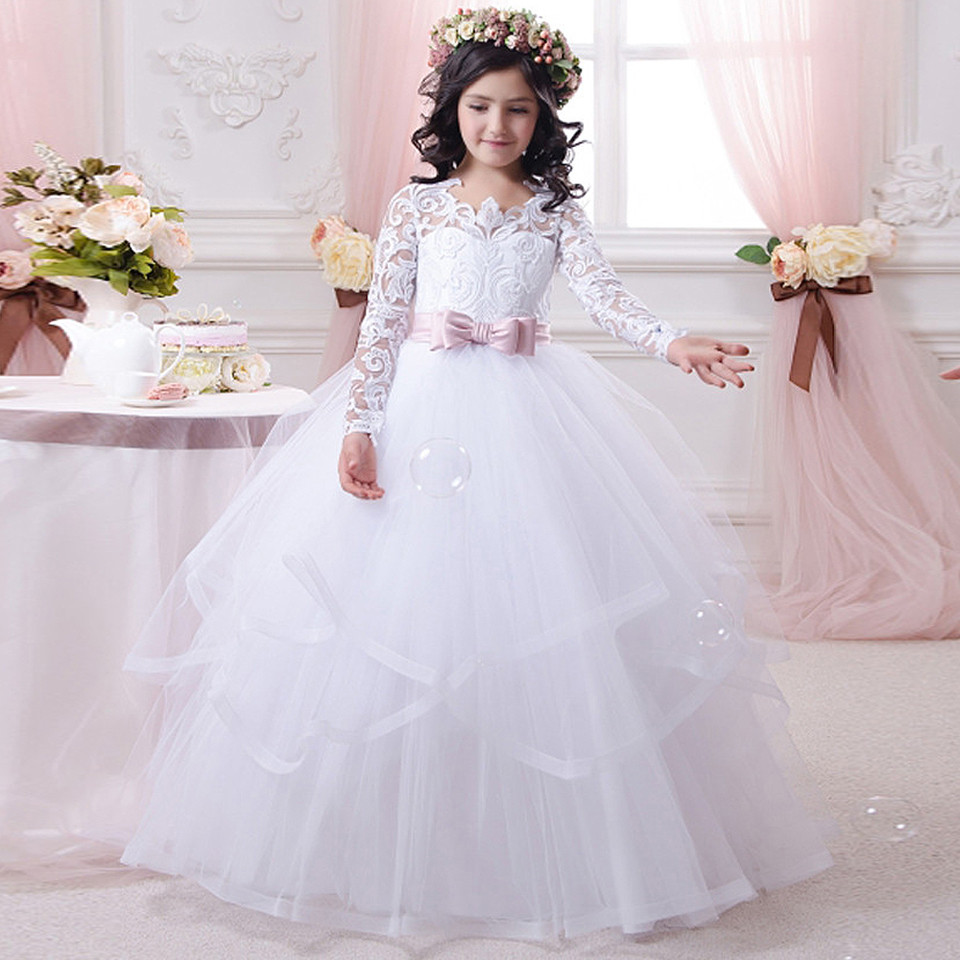 Flower   Children's Dream Wedding Party Lace   Dress   White Bow Sash O-Neck Long Sleeves Solid   Girls   Communion   Dresses