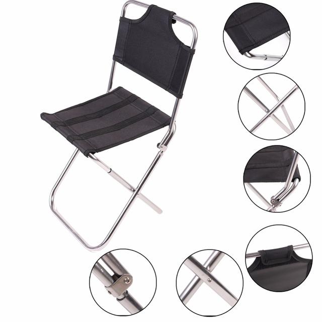 1 PC Portátil Ao Ar Livre Cadeiras Dobráveis de Pesca Jardim Camping Piquenique Alumínio Preto Home Móveis Empilháveis