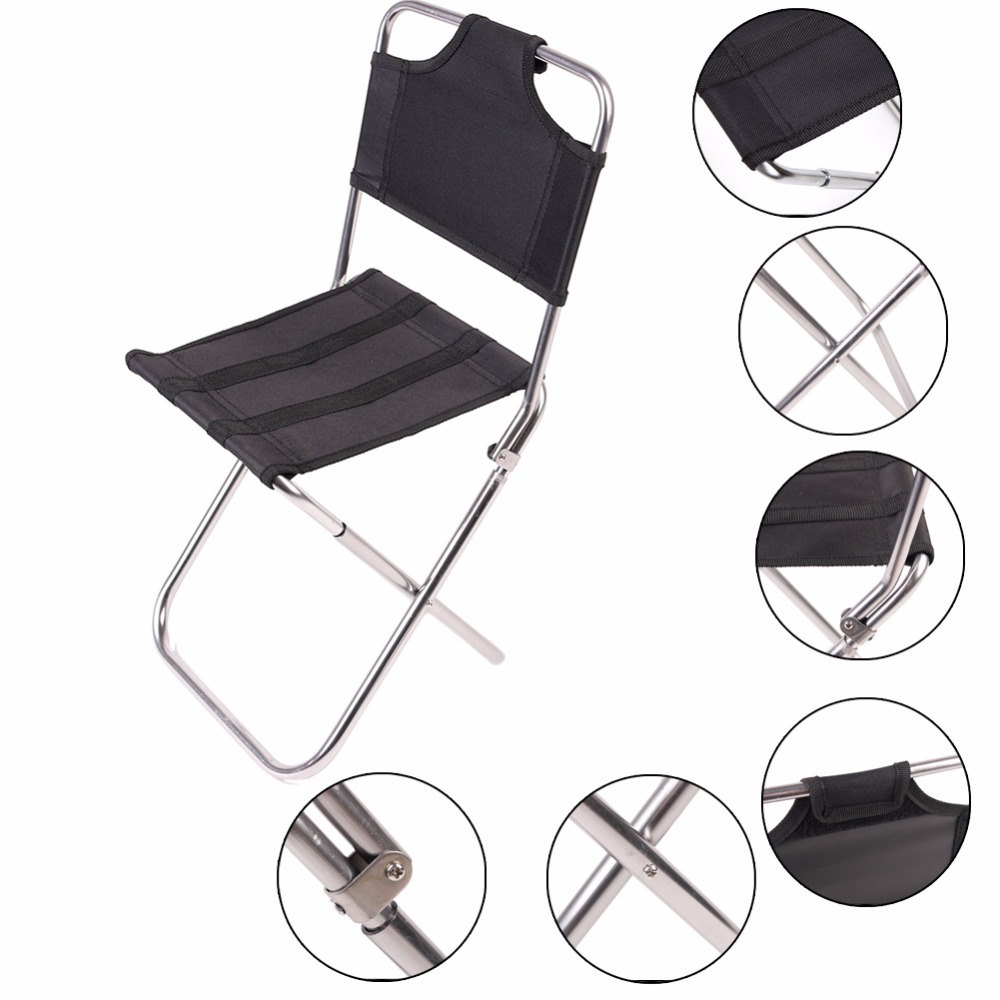 1 pc portable outdoor fishing folding chairs garden picnic camping black aluminum home furniture. Black Bedroom Furniture Sets. Home Design Ideas