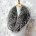 Реальных природных silver fox воротники женщина роскошный мех воротником большой шарф платок воротник женщина