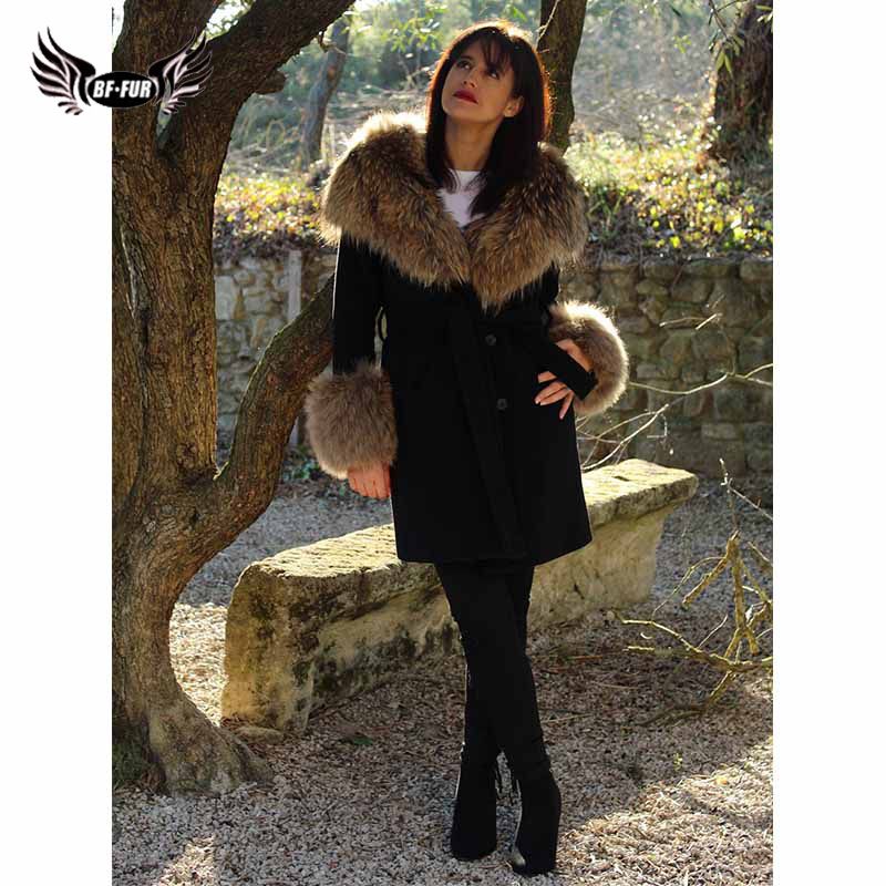 Rabbit Fur Coat Where Is My Mind Whole Skin Womens Coats 2018 Winter Real Fur Raccoon Dog Collar Women's Park With Natural Fur