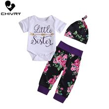 3Pcs Baby Girls Sister Match Big Little Sister Girl Letter T-shirt Romper Top + Floral Pants Girls Sister Outfit Clothes Sets sister sister