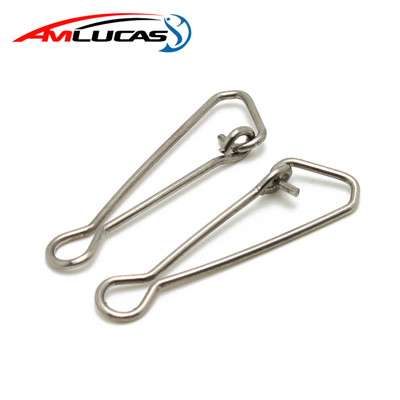 Amlucas 50pcs Stainless Steel Fishing swivels Hooked Snaps Fishing Hook Line Connector sea Swivel Rolling Snap Size 0-8 WE291