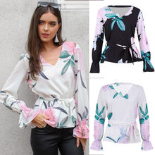 02aa5a84ac4 2018 Latest Fashion Women's V-Neck Flare Long Sleeve Floral Print Sashes Top  Ladies Loose